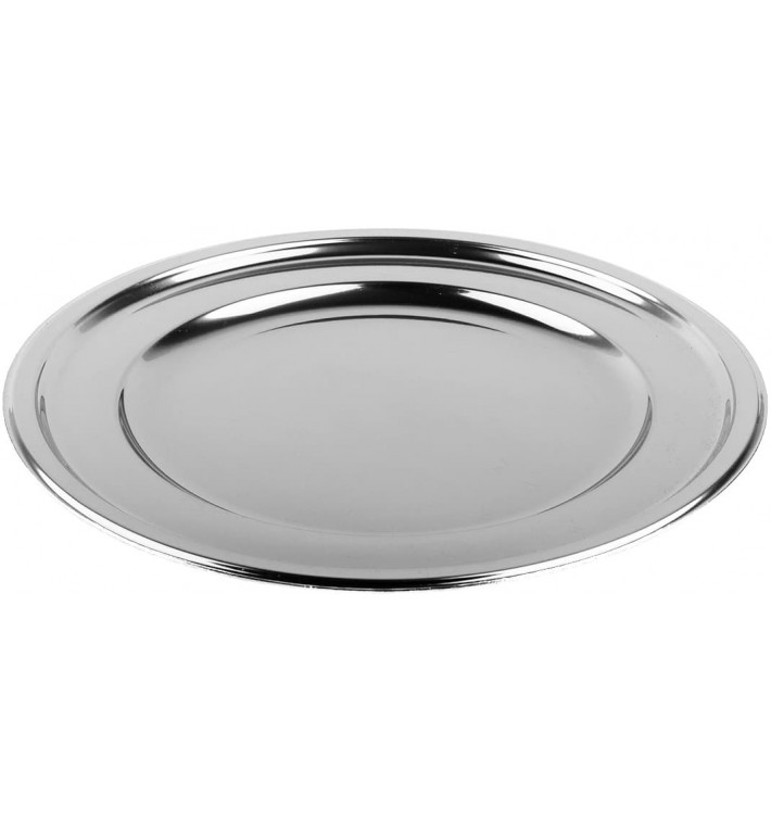 Assiette en Plastique PET Ronde Argenté Ø18,5cm (180 Utés)