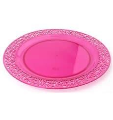 Assiette Plastique Extra Dur Framboise 19cm (10 Unités)