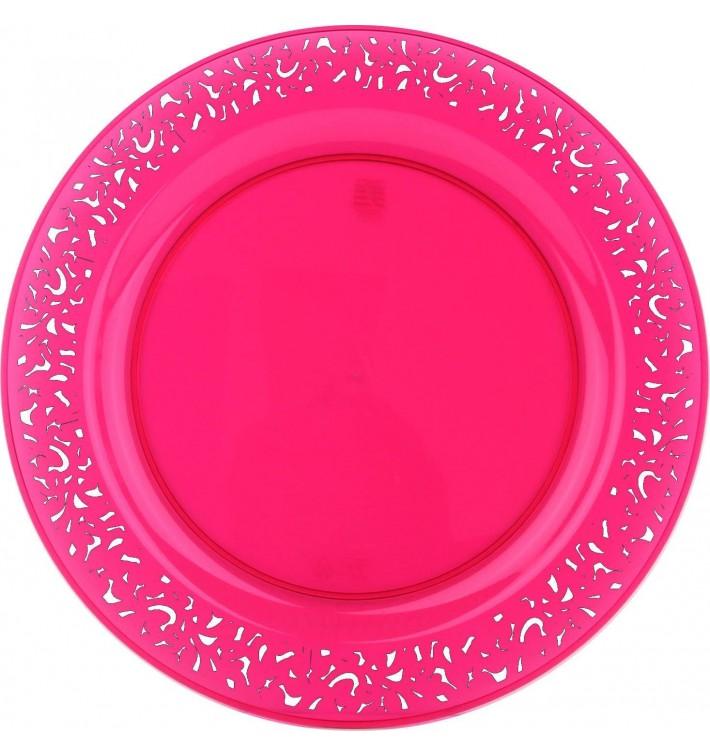 """Assiette Plastique Ronde """"Lace"""" Framboise Ø23cm (4 Utés)"""