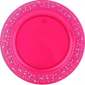 """Assiette Plastique Ronde """"Lace"""" Framboise Ø23cm (88 Utés)"""