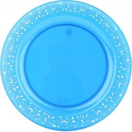 """Assiette Plastique Ronde """"Lace"""" Turquoise Ø19cm (4 Utés)"""