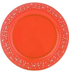 "Assiette Plastique Ronde ""Lace"" Orange Ø19cm (4 Utés)"