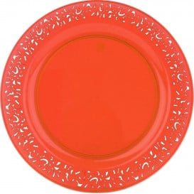 "Assiette Plastique Ronde ""Lace"" Orange Ø19cm (88 Utés)"