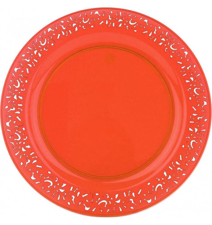 """Assiette Plastique Ronde """"Lace"""" Orange Ø19cm (88 Utés)"""