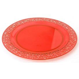 """Assiette Plastique Ronde """"Lace"""" Orange Ø23cm (88 Utés)"""