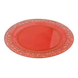 """Assiette Plastique Ronde """"Lace"""" Orange Ø23cm (4 Utés)"""