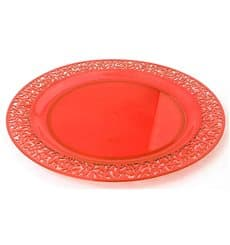 "Assiette Plastique Ronde ""Lace"" Orange Ø23cm (4 Utés)"