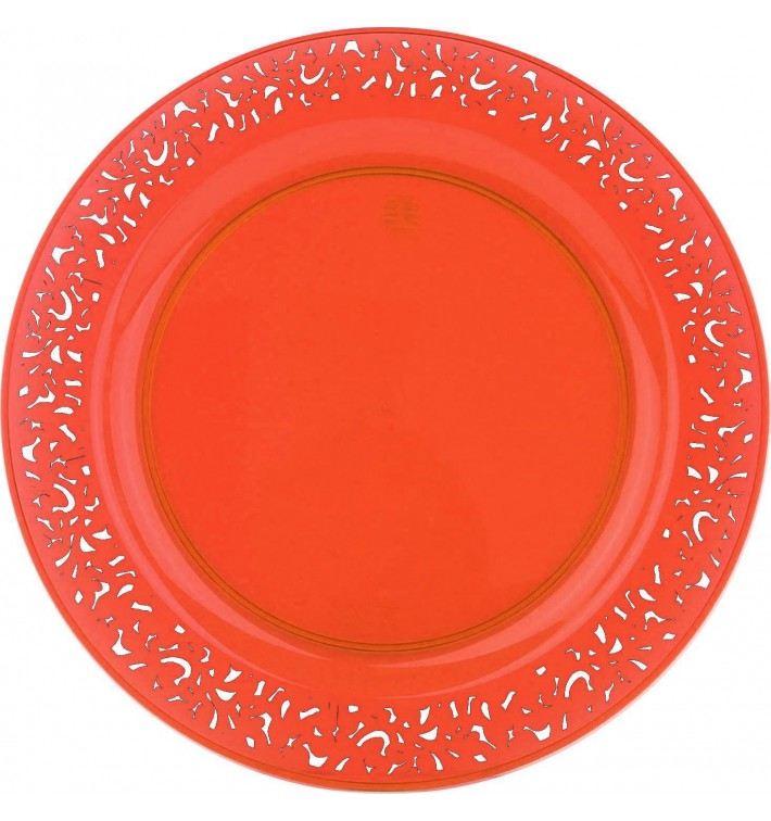 "assiette plastique ronde ""lace"" orange Ø23cm (4 utés) - monouso.fr"