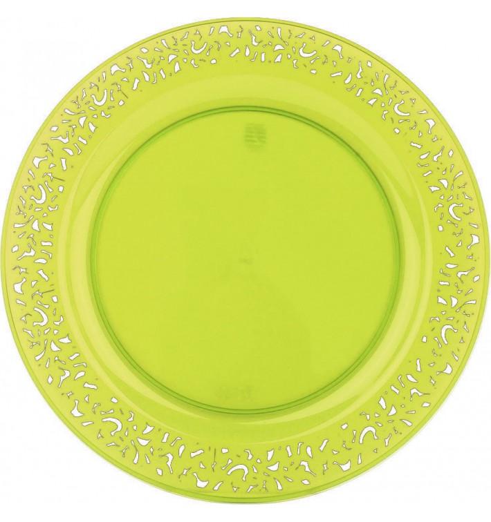 """Assiette Plastique Ronde """"Lace"""" Vert Ø19cm (88 Utés)"""