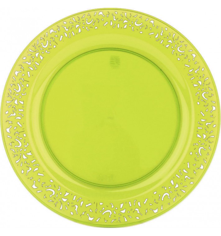 """Assiette Plastique Ronde """"Lace"""" Vert Ø23cm (88 Utés)"""