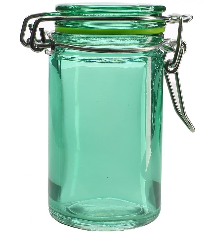 bocal en verre herm tique vert 70 ml 4 5x8 cm 8 ut s. Black Bedroom Furniture Sets. Home Design Ideas