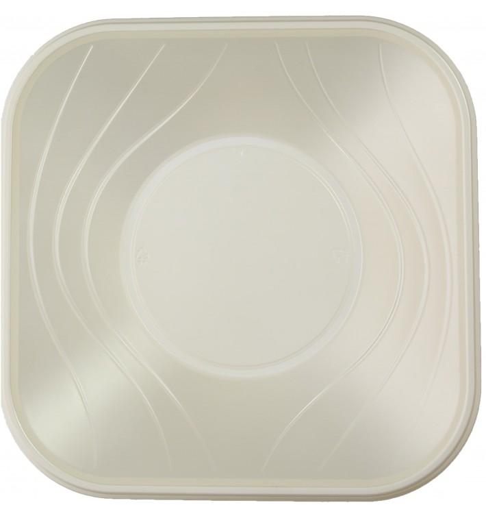 """Bol Plastique PP Carré """"X-Table"""" Perle 18x18cm (8 Utés)"""