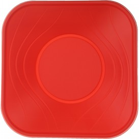"Bol Plastique PP Carré ""X-Table"" Rouge 18x18cm (8 Utés)"