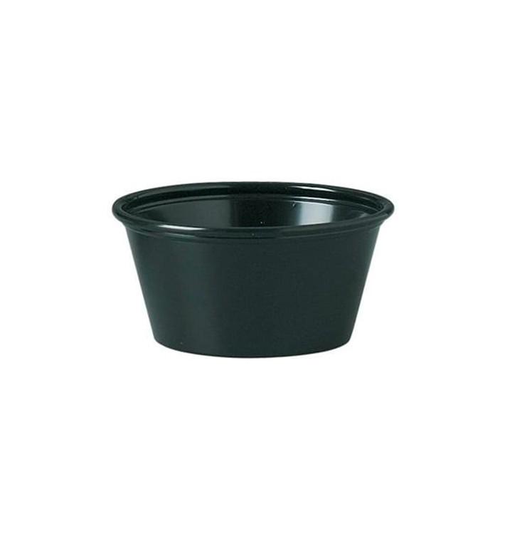 Pot à Sauce Plastique PP Noir 60ml Ø6,6cm (2500 Utés)