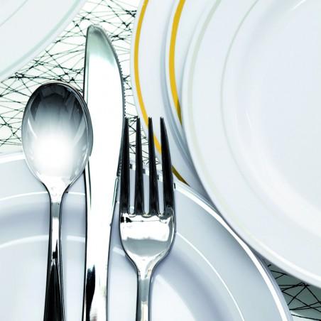 Fourchette argentée en plastique 19cm (50 unités)