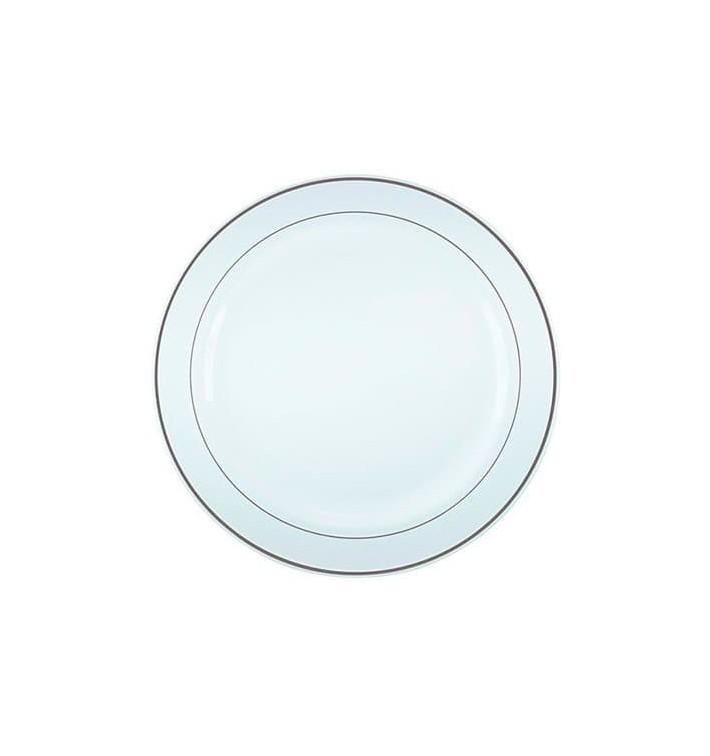 Assiette en Plastique Dur avec Liseré Argent 19cm (120 Utés)