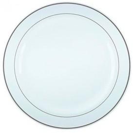 Assiette en Plastique Dur avec Liseré Argent 26cm (6 Utés)
