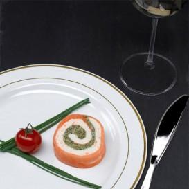 Assiette en Plastique Dur avec Liseré Or 26cm (90 Utés)