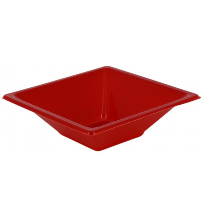 Bol en Plastique PS Carré Rouge 12x12cm (12 Utés)