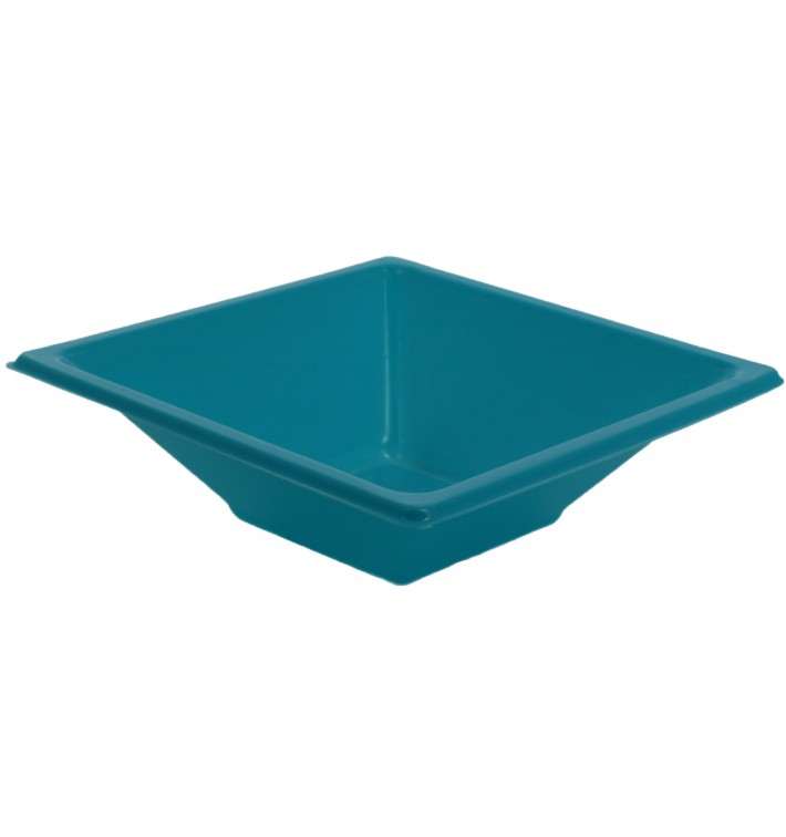 Bol en Plastique PS Carré Turquoise 12x12cm (720 Utés)