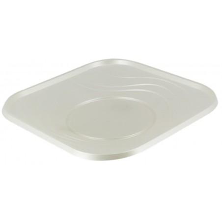Assiette Plastique Carré Plate Perle PP 230mm (8 Unités)