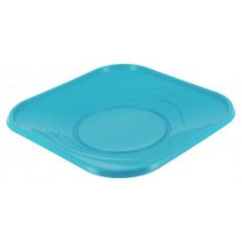 Assiette Plastique Carré Plate Turquoise PP 180mm (120 Unités)