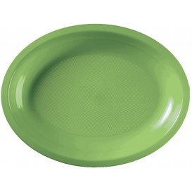 Plateau Plastique Ovale Vert citron Round PP 255x190mm (50 Utés)