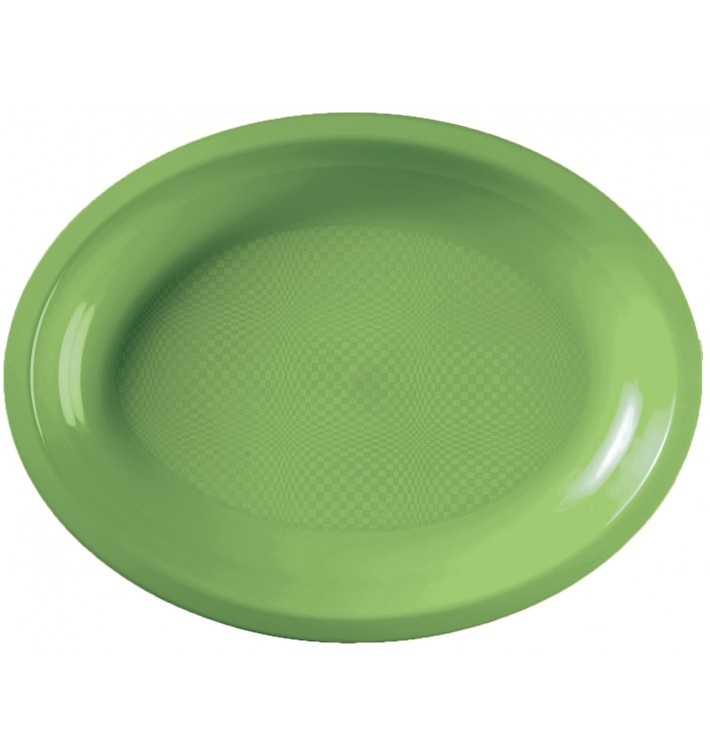 Plateau Plastique Réutilisable Ovale Vert citron PP 255x190mm (50 Utés)