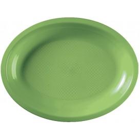 Plateau Plastique Ovale Vert citron Round PP 315x220mm (25 Utés)