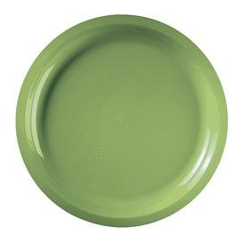 Assiette Plastique Réutilisable Vert citron PP Ø290mm (25 Utés)