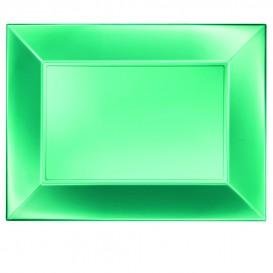 Plateau Plastique Plat Vert Nice Pearl PP 345x230mm (60 Utés)
