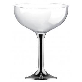 Flûte Champagne Plastique Pied Nickel Chrome 200ml 2P (20 Utés)