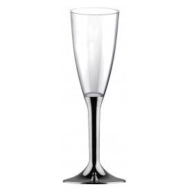 Flûte Champagne Plastique Pied Nickel Chrome 120ml 2P (20 Utés)
