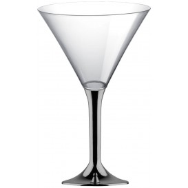 Flûte Plastique Cocktail Pied Nickel Chrome 185ml 2P (200 Utés)