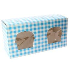 Boîte pour 2 Cupcakes Bleu avec insert (20 Unités)