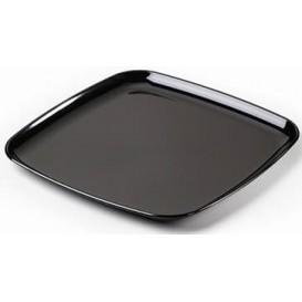 Plateau carré en plastique dur Noir 30x30 cm (5 Utés)