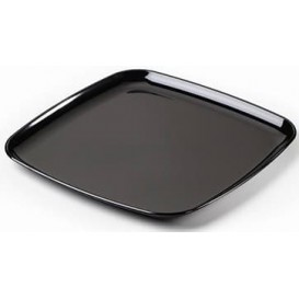 Plateau carré en plastique dur Noir 40x40 cm (25 Utés)