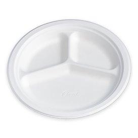 Assiette en Carton Fibre 3 Compartiments 260mm (135 Unités)