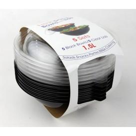 Bol en Plastique Noir et Couvercle 1500ml Ø230mm (5 Utés)
