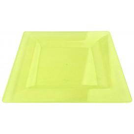 Assiette Plastique Carrée Extra Dur Vert 20x20cm (4 Utés)