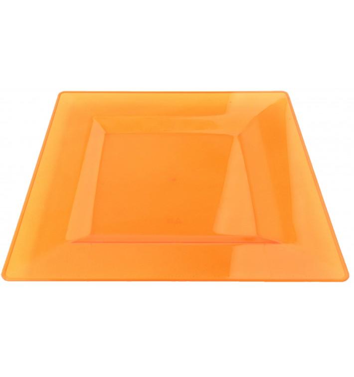 Assiette Plastique Carrée Extra Dur Orange 20x20cm (4 Utés)