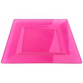 Assiette Plastique Carrée Extra Dur Framboise 20x20cm (88 Utés)