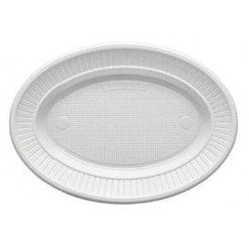 Assiette Plastique PS Ovale Plate Blanche (1000 Unités)