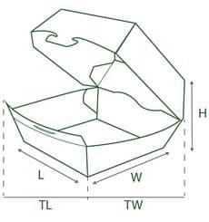 Boîte à Hamburger Carton XXL 14,5x14,5x8 cm (400 Utés)