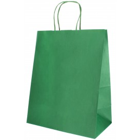 Sac en Papier Kraft Vert avec Anses 80g 26+14x32 cm (250 Utés)