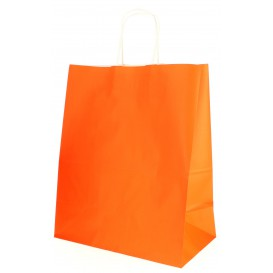 Sac en Papier Orange avec Anses 80g 26+14x32 cm (250 Utés)