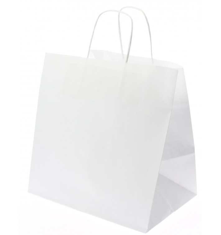 Sac en Papier Kraft Blanc avec Anses 80g 26+20x27 cm (50 Utés)