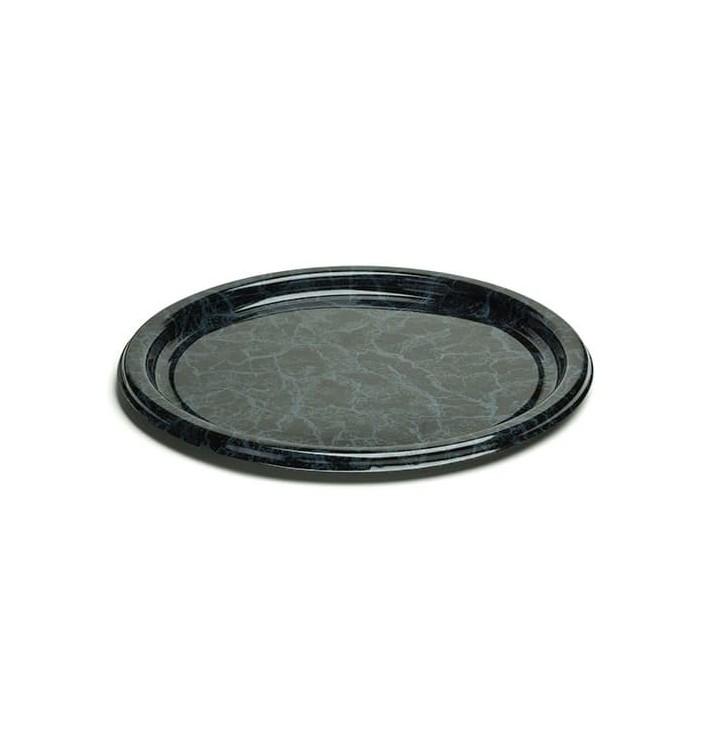 Assiette en Plastique Rigide Marbré 18 cm (25 Utés)