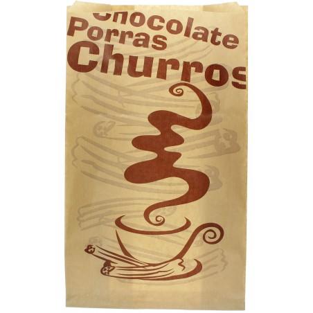 """Sachet à Churros """"Chocolat"""" Kraft 18+7x32 cm (250 Utés)"""