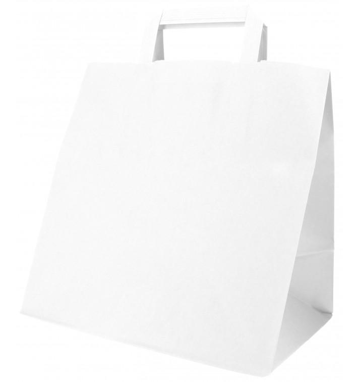 Sac Papier Blanc avec Anses Plates 70g 26+18x26cm (50 Utés)